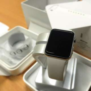 Price DOWN... Apple WATCH 42mm Silver Stainless Steel Case White Band - BARELY USED