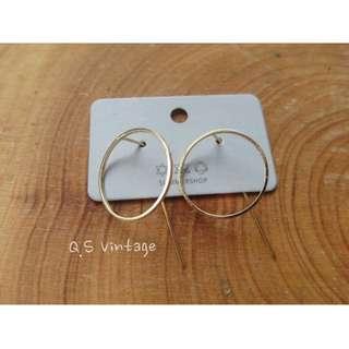 💥設計師原創幾何圓形穿刺掛式耳環