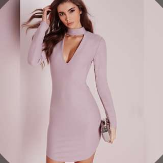 PENDING.  Misguided • crepe choker curve hem cut out bodycon dress