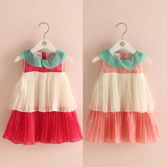 甜美拼色小洋裝