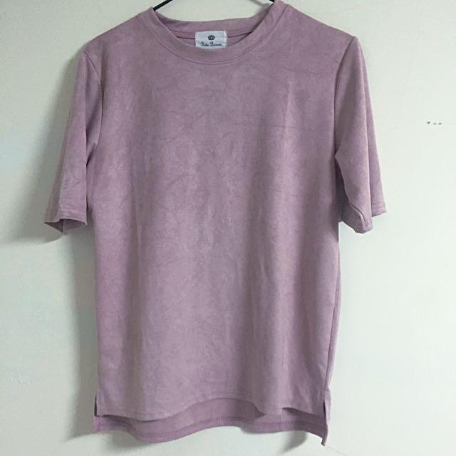 粉紅麂皮短袖上衣
