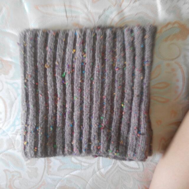 藕色針織圍脖