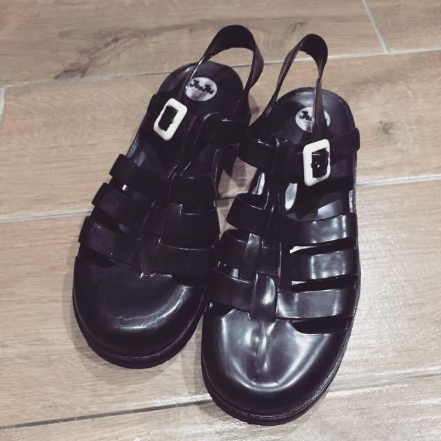 英國製 JUJU 黑色果凍涼鞋