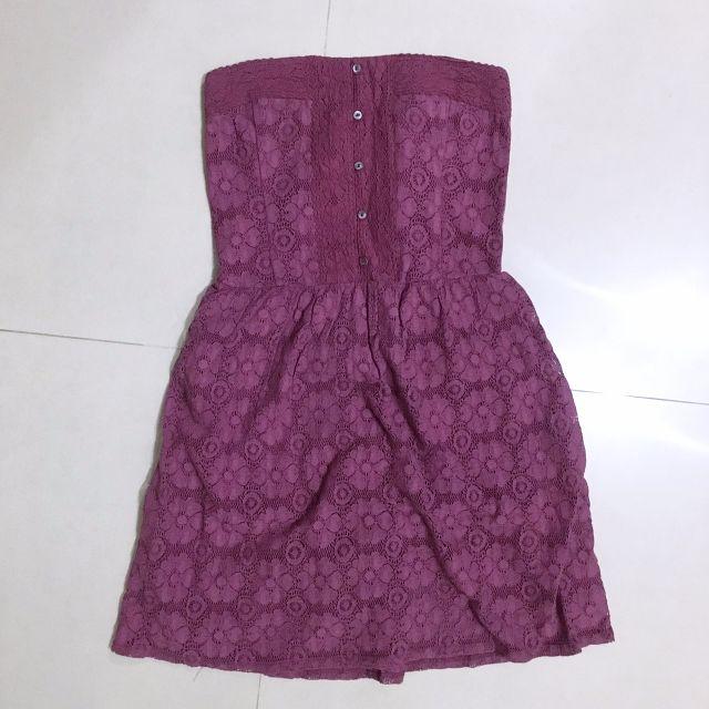 A&F櫻桃酒紅蕾絲平口洋裝