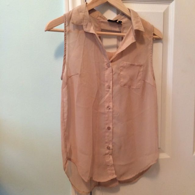 Beige Button Up Tank Top