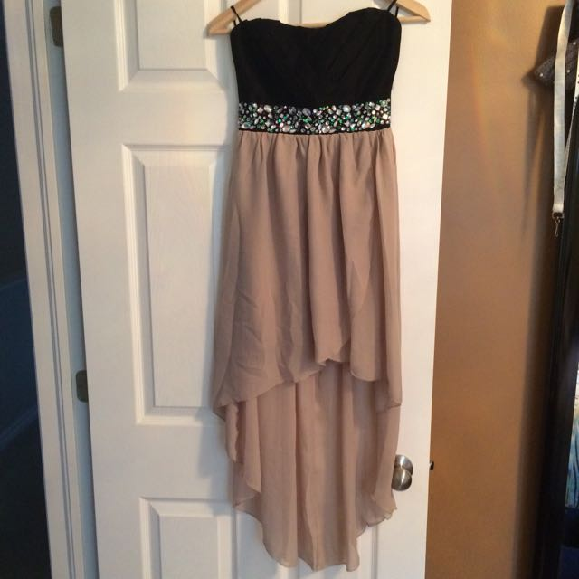 Strapless Black And Beige Dress