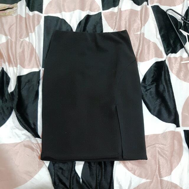 Black Cotton Stretchy Business Skirt Size M