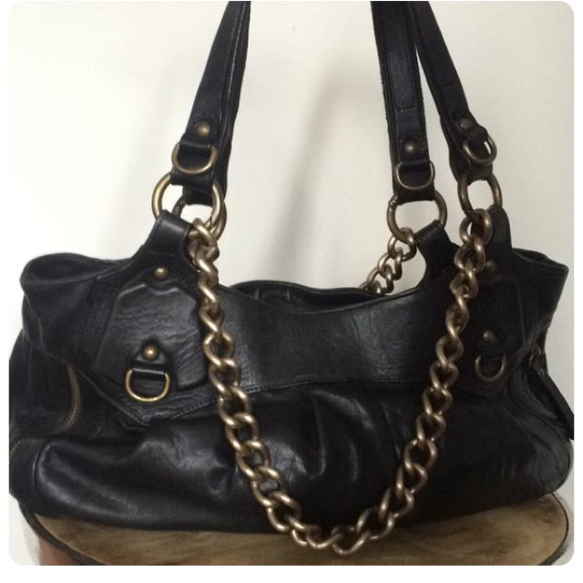 Black Leather Chain Purse