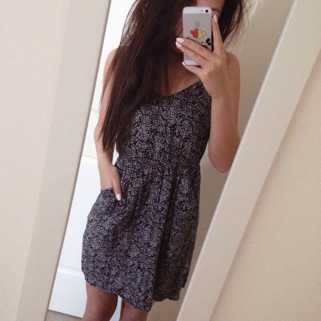 Black White Floral Cotton On Dress Size S