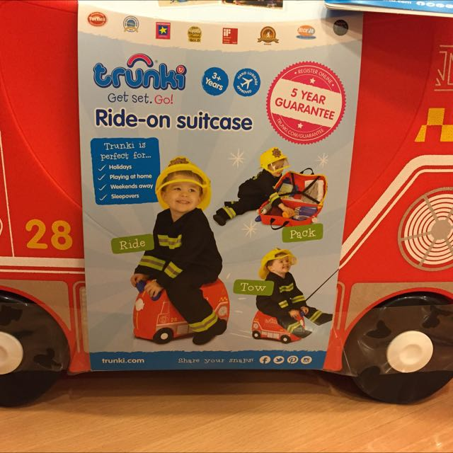a064b70890a7 Brand New In Box Trunki Fire Engine Frank Suitcase For Toddlers ...