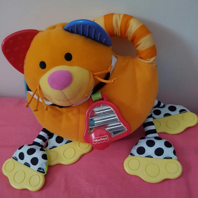 Cat Soft Toy With Teether And Bells