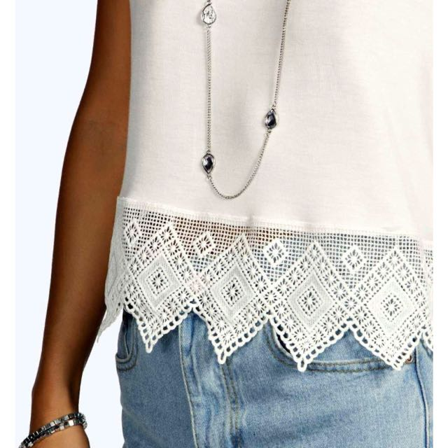 Crochet Hem Crop Top