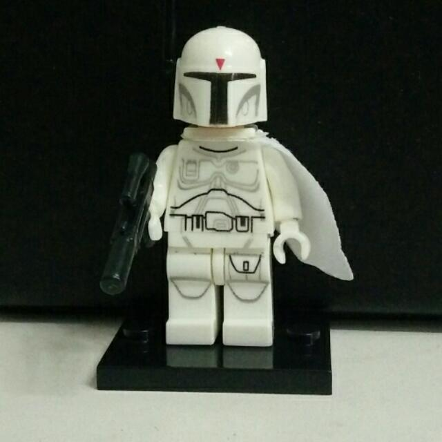 Lego Inspired Star Wars White Boba Fett With Stand New Toys Games
