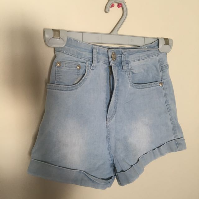 Mink Blue High Waisted Shorts, size S (6-8)