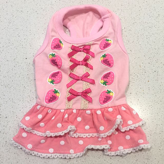 Pink Strawberry Dress For Pet
