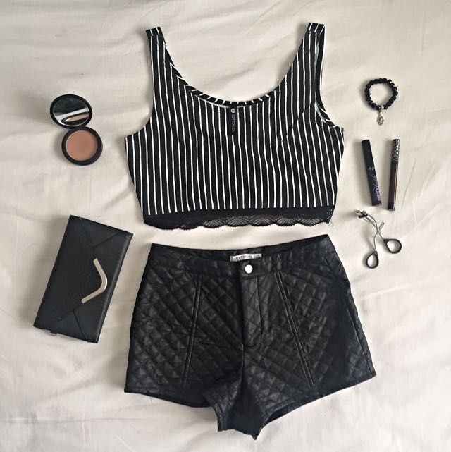 Pleather Quilted Shorts / Crop Top