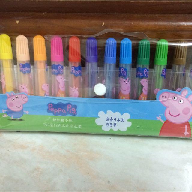 佩佩豬PVC袋12色水洗彩色筆