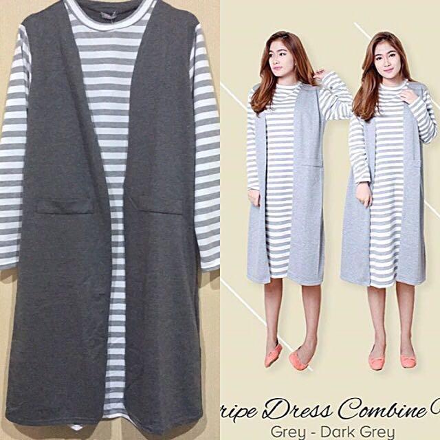 Stripe Dress Combine Vest