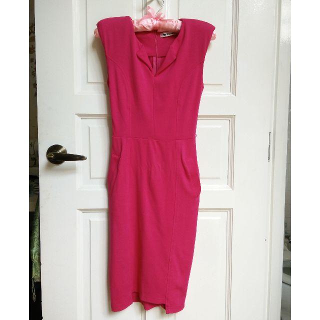 (RESERVED) Fuchsia Jersey Midi Dress with Pockets XS