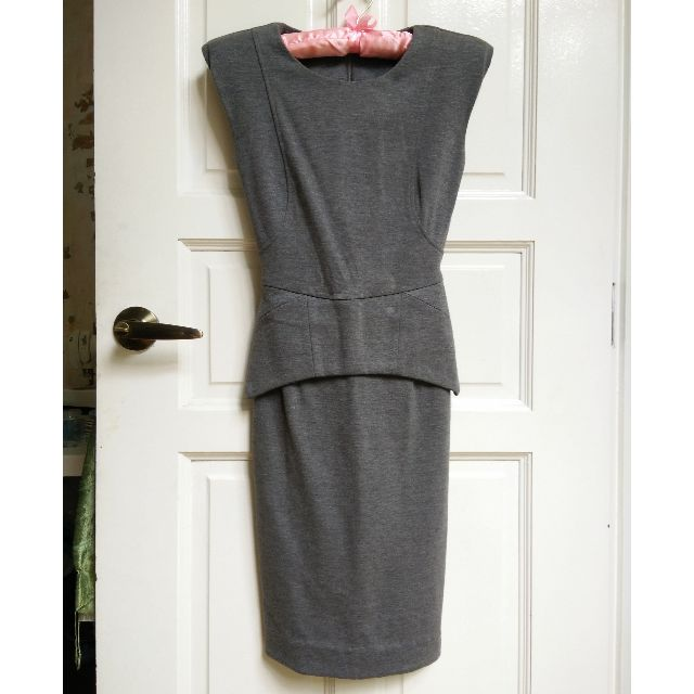 Grey Jersey Midi Dress XS