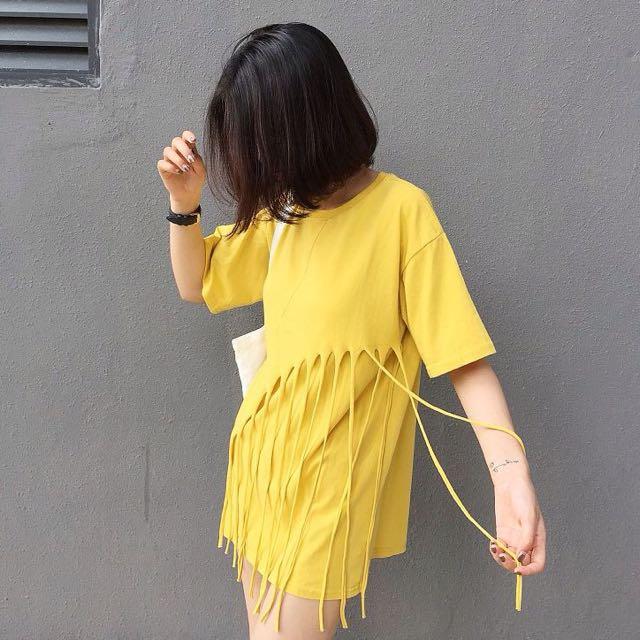 簡約個性流蘇裝飾純色短袖T卹