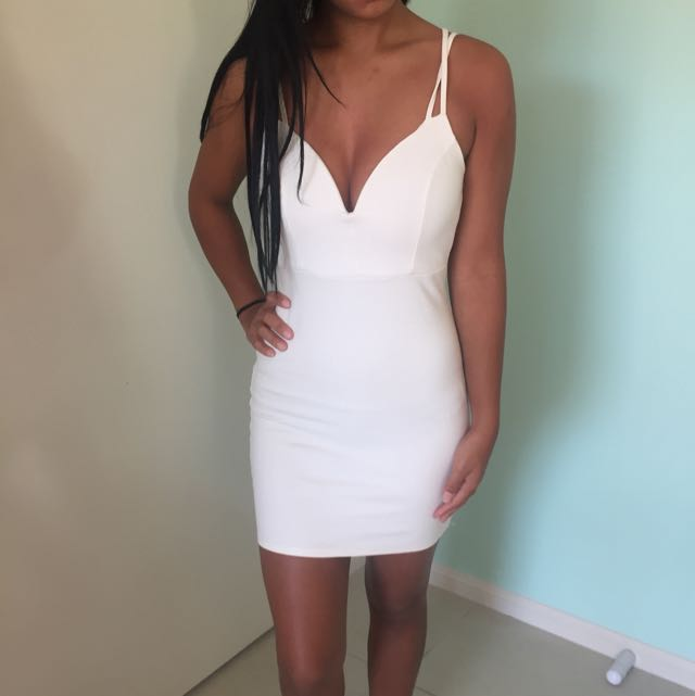 Whit Tight Fitted Dress