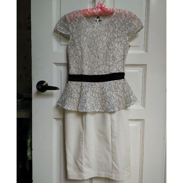 (SOLD) White & Black Peplum Ruffle Lace Corset Dress XS