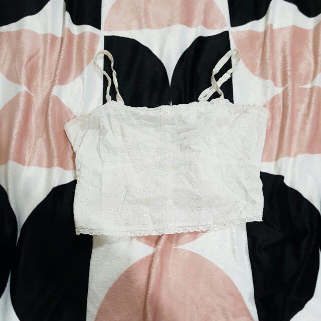 White Crop Top Size L