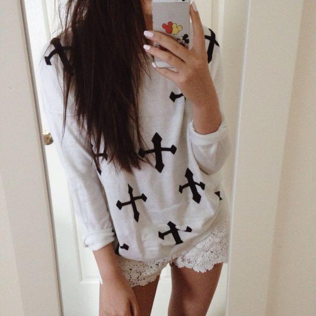 White Cross Knit Sweater Dotti XS