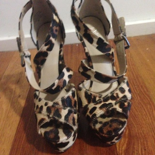 Wittner Pony Hair Animal, Leopard Print, Strappy High Heels. Perfect condition!