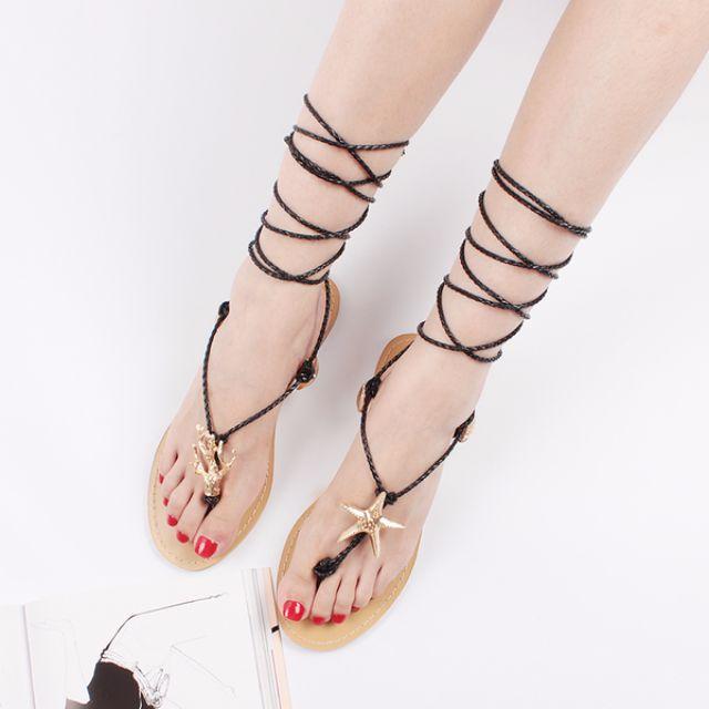 歐美海星x貝殼編織綁帶平底涼鞋