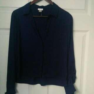 Cropped Navy Blue Chiffon Shirt