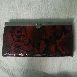 Red Snakeskin Print Wallet