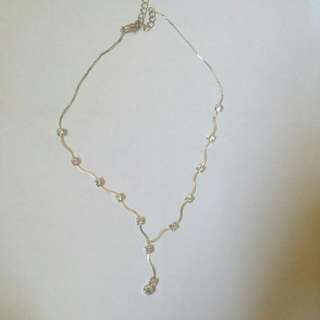 Silver Necklace With Rhinestones