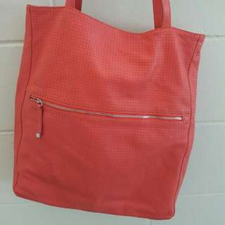 Country Road Leather Tote (Coral Colour)