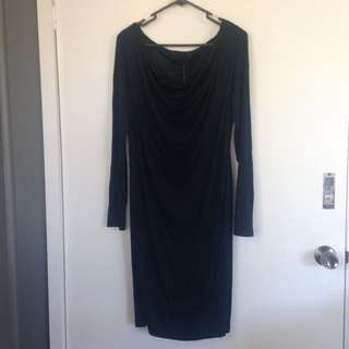 Howard Showers Cowl Neck Black Dress