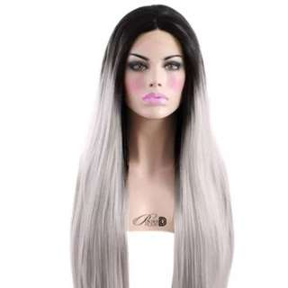 "Silver vamp Wig 24"" Powder RoomD"