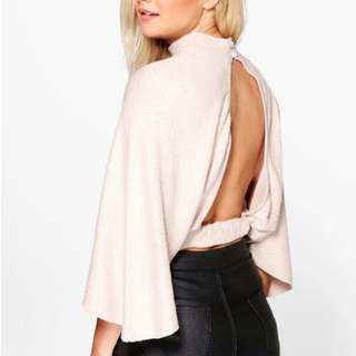 Boohoo Open Back Batwing Knit Jumper