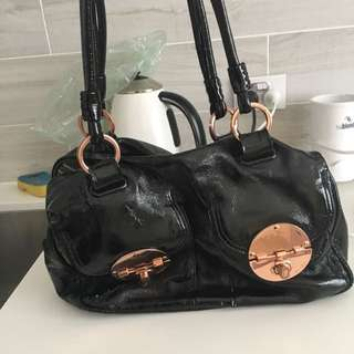 Mimco Painted Leather Bag With Rose Good Buckles
