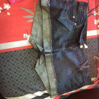 Dark Blue Denim Short Shorts Size Medium