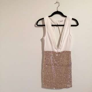 White & Gold Sequenced Dress