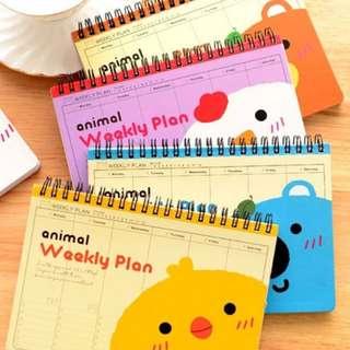 Cute Animal Weekly Planner