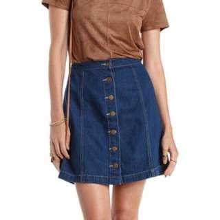 'A' Denim Button Up Skirt (BN)