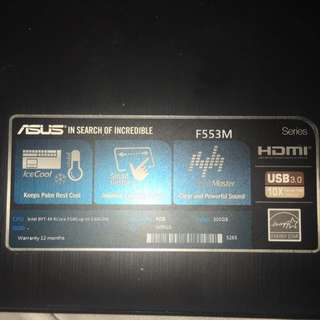 Asus 2016 Laptop 15inch Used Once Inbox