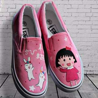Chibi Maruko Chan || Hand painted shoes