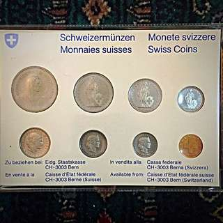 1979 Switzerland Swissmint Mint Issue Complete 8-Coins Proof Set, BU-UNC/Rare Scarce! Brilliantly Uncirculated, beautiful & attractive famous Swiss circulating coin design. TOP-Struck! (#678)