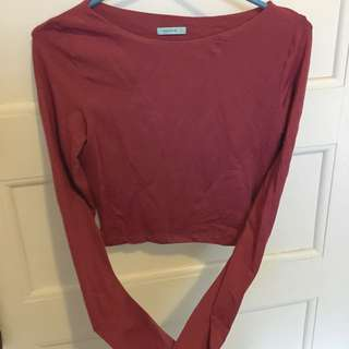 Kookai 2 Wine Long Sleeve Crop