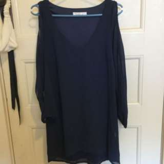 Navy Split Sleeve Shift Dress