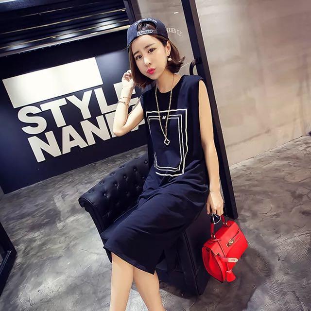 2016韓版莫代爾簡約設計長版休閒寬鬆長洋裝 黑色現貨