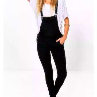 Long Black Denim Overalls